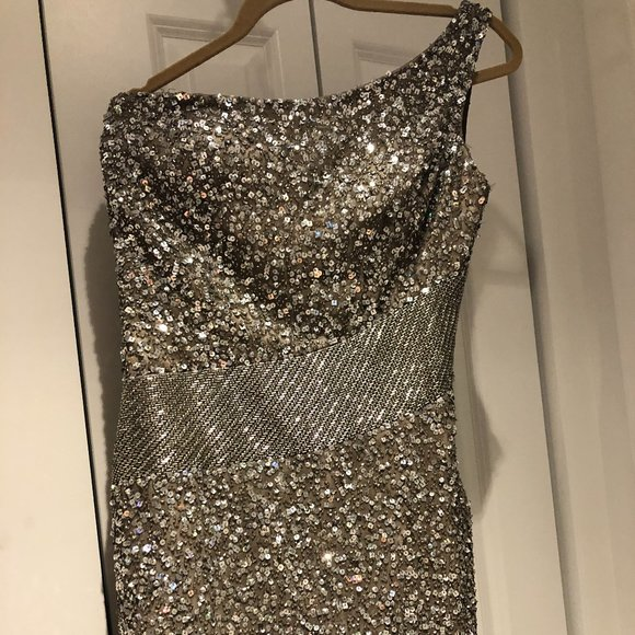 PartyNew Years Eve 90s Vintage Silver Sequin Boob Tube Tube Top